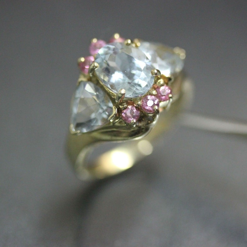 7415ef580 Estate 14k Yellow gold Natural Aquamarine & Pink Topaz Trilogy | Etsy
