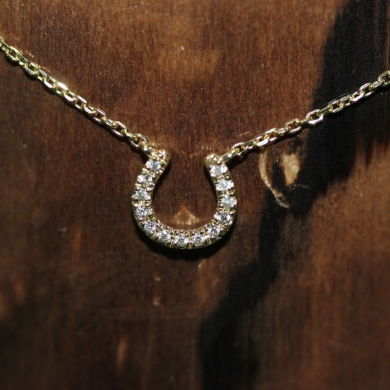 14K Yellow Gold Horseshoe Pendant on an Adjustable 14K Yellow Gold Chain Necklace
