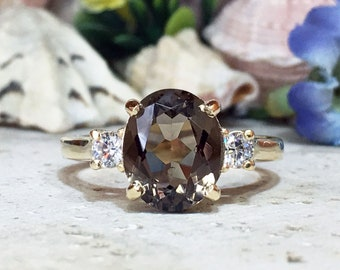 Smoky Quartz Ring Promise Ring Wedding Ring Statement Ring Cocktail Ring Engagement Ring Solitaire Ring Cocktail Ring January Birthstone