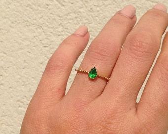 20% off- SALE!! Emerald Ring - Gemstone Ring - Gold Ring - Bezel Ring - May Birthstone Ring - Teardrop Ring - Stacking Ring - Simple Ring