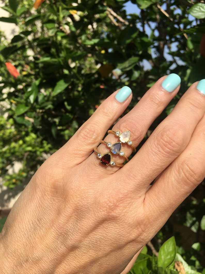 Teardrop Ring Prong Ring Gold Ring Stacking Ring Delicate Ring Brown Ring Smoky Quartz Ring Gemstone Ring Simple Ring