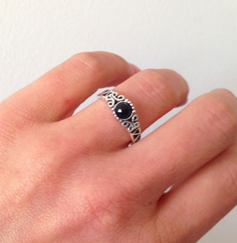Gold Ring Gemstone Ring Onyx Jewelry Lace Ring December Ring Black Onyx Ring Dainty Ring Simple Jewelry Filigree Ring