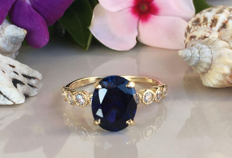 Blue Sapphire Ring - September Birthstone - Statement Ring - Gold Ring -  Prong Ring - Engagement Ring - Oval Ring - Cocktail Ring