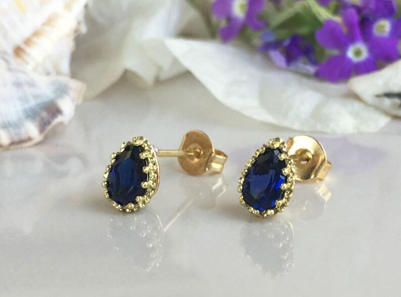 Teardrop Earrings Delicate Studs Sapphire Earrings Post Earrings September Birthstone Jewelry Shiny Gold Earrings