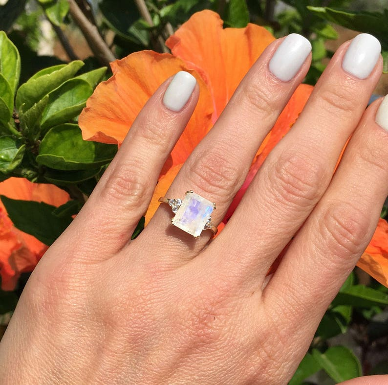 Cocktail Ring June Birthstone Gold Ring Statement Ring Oval Ring Rainbow Moonstone Ring Engagement Ring