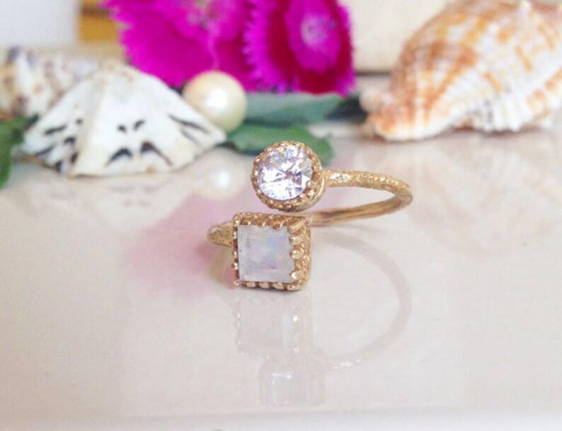 Dual Gemstone Ring Clear Quartz Ring Gold Ring Moonstone Ring Hammered  Ring Stack Ring Gemstone Ring Any Birthstone Ring