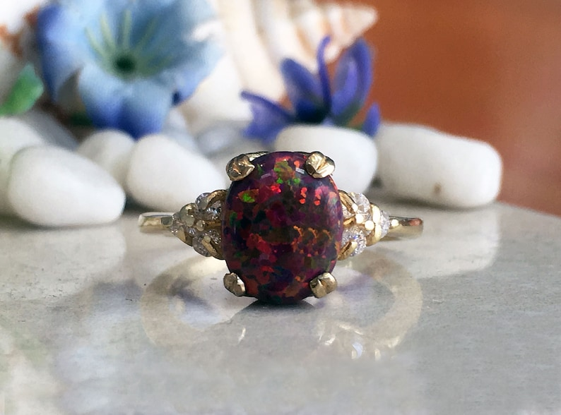 Gemstone Ring Cocktail Ring Dainty Ring Oval Ring Red Opal Gold Ring Statement Ring Fire Opal Ring Prong Ring Opal Jewelry