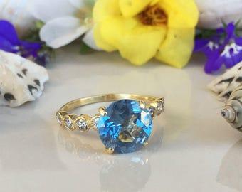 20% off-SALE!! Blue Topaz Ring - December Birthstone - Engagement Ring - Gold Ring - Round Ring - Gemstone Band - Statement Ring