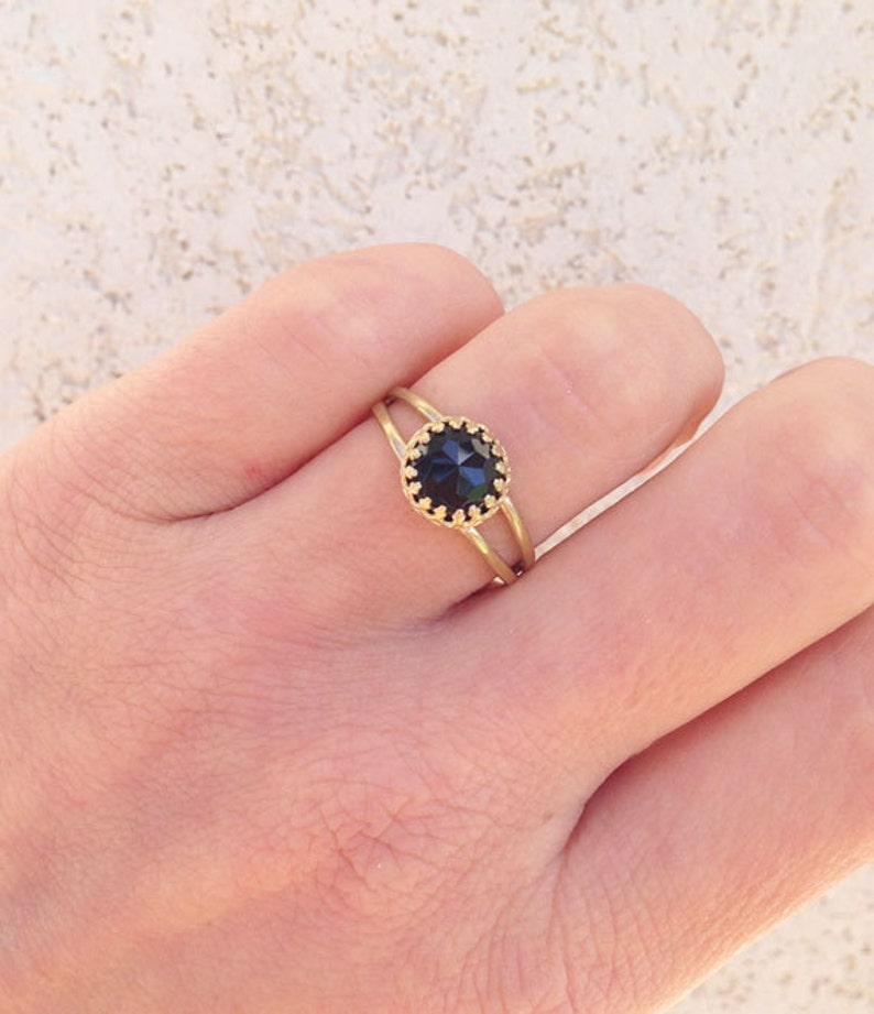 Birthstone Ring Simple Ring Genuine Gemstone Gold Ring Double Band Ring Delicate Ring December Birthstone Black Onyx Ring