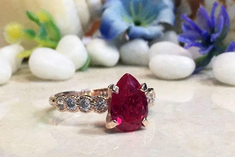 Engagement Ring Gold Ring July Birthstone Prong Ring Ruby Ring Teardrop Ring Cocktail Ring Gemstone Band Statement Ring