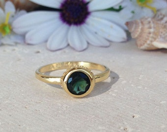 20% off-SALE!! Green Tourmaline Ring - Gemstone Ring - Stacking Ring - Simple Ring - Tiny Ring - Bezel Ring - Gold Ring - Round Ring