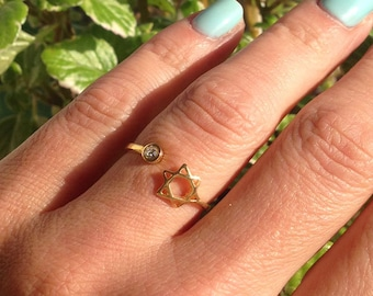 20% off- SALE!! Star of David Ring - Gold Ring - Simple Ring - Everyday Jewelry - Tiny ring - Adjustable Ring - Minimalist Ring - Stack Ring