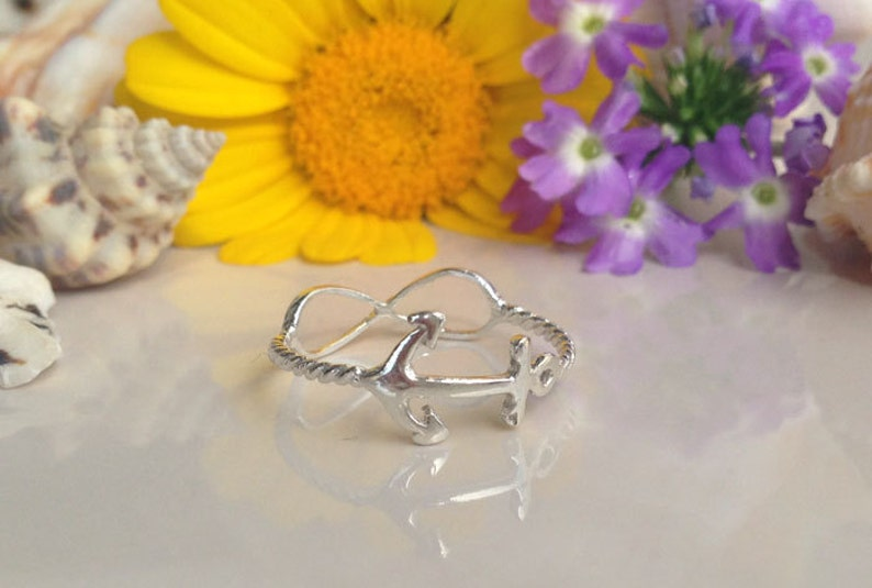 Stack Ring Love Ring Anniversary Gift Infinity Ring Everyday Ring Gold Anchor Ring Simple Ring Stacking Ring