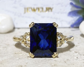 Blue Sapphire Ring - September Birthstone - Statement Ring - Gold Ring - Engagement Ring - Prong Ring - Rectangle Ring - Cocktail Ring