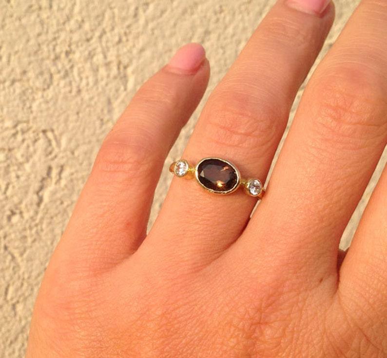 Smoky Quartz Ring Brown Ring Simple Ring Genuine Gemstone Stacking Ring Bezel Ring Triple Ring Hammered Ring Oval ring