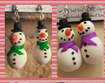 Handmade Happy snowmen earrings. Christmas