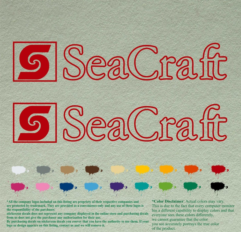 Pair SeaCraft Decals Vinyl Stickers Boat Outboard Motor lot of 2