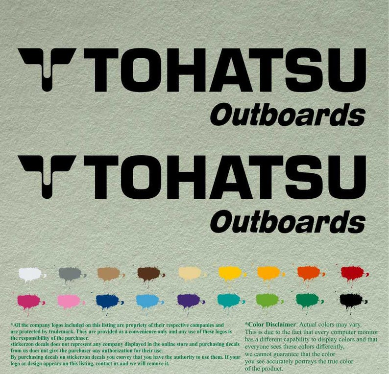Pair of Tohatsu Boats Outboards Decals Vinyl Stickers Boat Outboard Motor  Lot of 2