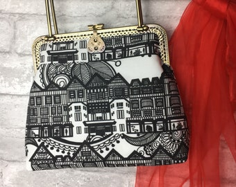Liberty of London themed kiss-clasp evening handbag ~ Vintage style bag ~ Black and white with floral lining ~ Handmade in Dorset x