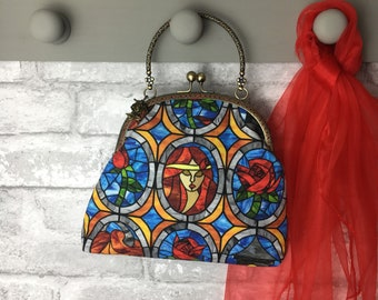 Beauty and the Beast Evening Bag, Special Occasion Bag ~ Take as old as time ~ Red rose ~ Belle ~ Beautiful Gift x