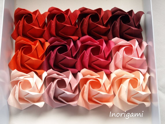 Red hues 1 rose offered separately origami rose flower etsy image 0 mightylinksfo