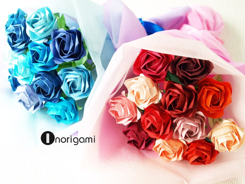 Xmas Birthday Mother/'s day e.t.c. 20/%OFF BLUE tone  1 Dozen Fine Origami Roses Bouquet  Gift for Anniversary