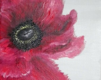 Original red poppy oil painting  on canvas in contemporary style, an ideal gift for her