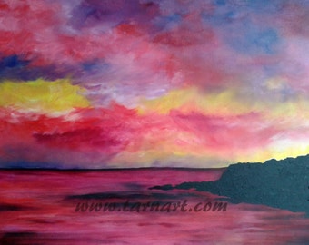 Large seascape art of a colourful sunset over the sea. An original red and black oil painting on canvas