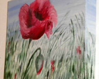 Original oil painting of red poppies in a meadow on a 3d canvas