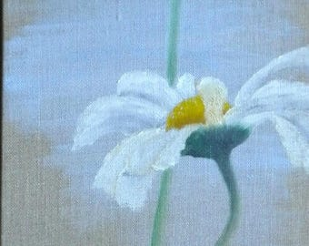 White daisies painting on 3d canvas, an original floral oil painting