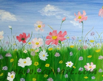 Field of flowers, happiness, contemporary art, floral, romantic painting picture painting