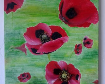 """Original floral art of black and red poppies, an oil painting of the ladybird poppy 16"""" x 13"""""""