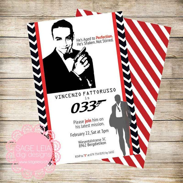 Party Balloons Zurich: 007 James Bond Custom Printable Personalized Birthday