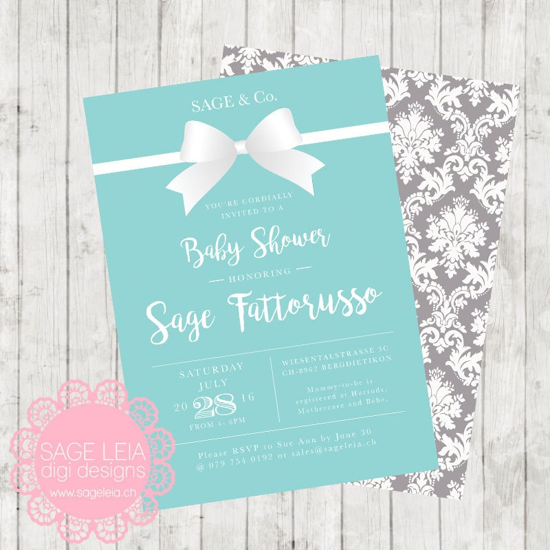 Personalised New Baby Or Birthday Card By Mint Nifty: Custom Printable Tiffany Mint Blue Grey Damask White Bow