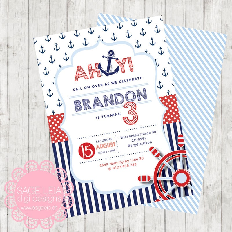 Party Balloons Zurich: Custom Printable Classic Nautical Red Navy Pastel Blue