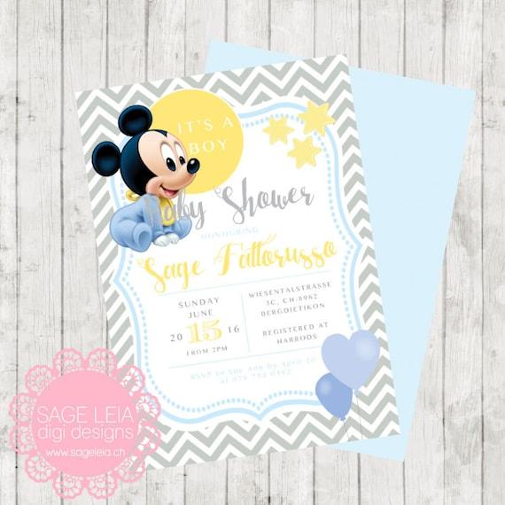 Personalizado Para Imprimir Disney Baby Mickey Boy Chevron Etsy