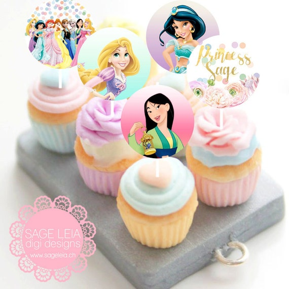 Party Balloons Zurich: Custom Printable Disney Princesses Pastel Whimsical
