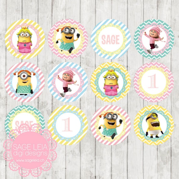 Party Balloons Zurich: Custom Printable Minions Themed Girl Pastel Party Birthday