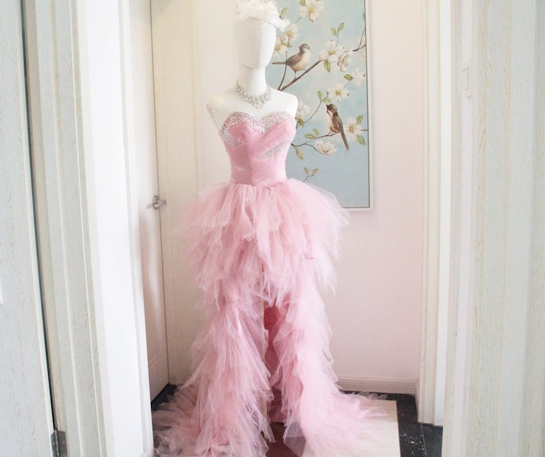 Elegant Sweetheart Blush Pink Tulle High Low Prom Dress,High Low Tulle Prom Evening Gowns Front Short Back Long Tulle Evening Dresses