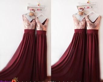 Burgundy bridesmaid dress,burgundy sequin bridesmaid dress,rose gold sequin prom dress,a line v neck burgundy bridesmaid dresses