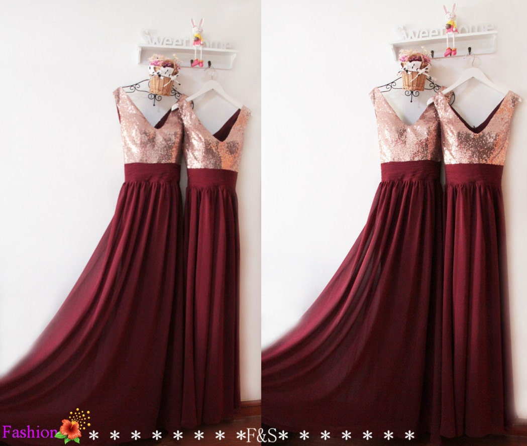 Bridesmaid Dresses Long 2016Burgundy Sequin Bridesmaid