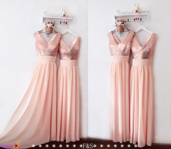 Peach Bridesmaid Dress,Peach Prom Dress,V Neck Rose Gold Sequin Dress,Long Chiffon Peach Dress,Wedding Party Dress,Formal Evening Dresses