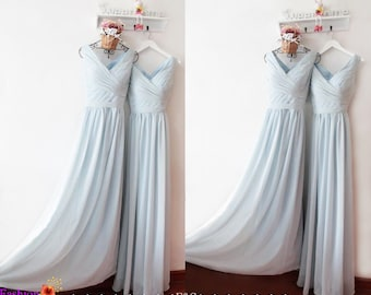 Bridesmaid Dress Dusty Blue Bridesmaid Dresses Bridesmaid Dress Vintage Dusty Blue with Belt Plus Size Bridesmaid Dress Maxi Chiffon Dress