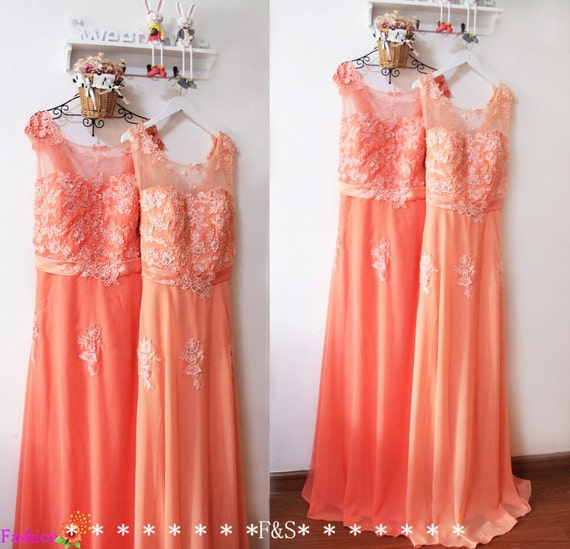 Plus Size Bridesmaid Dresssexy Plus Size Peach Lace Evening Etsy