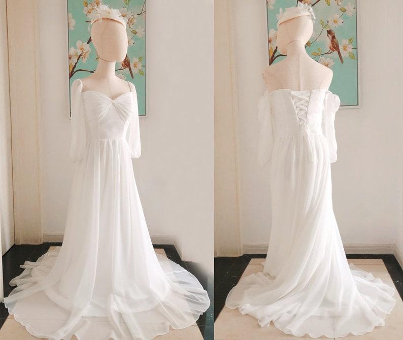 Ivory Simple Boho Chiffon Wedding Dresses Infinity Long Sleeve Bridesmaid Dresses,Off Shoulder Ivory Bridesmaid Dresses