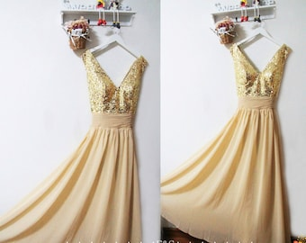 Gold Sequin Bridesmaid Dress Sparkly Evening Prom Dress Long Gold Chiffon Dress Sexy Gold Bridesmaid Dress Prom Dress Bridesmaid Dress 2016