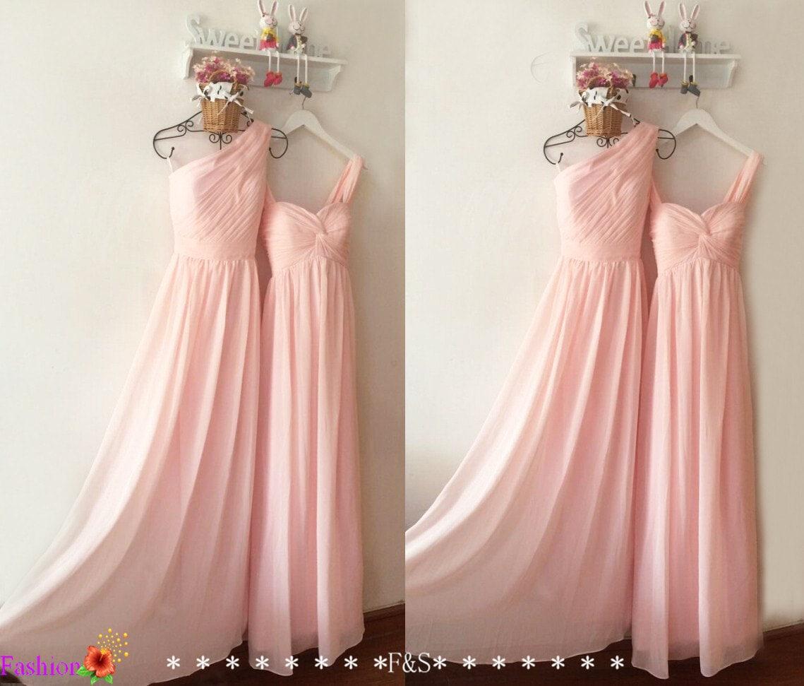 Luz rosa de Dama de honor vestidos vestido de fiesta baratos
