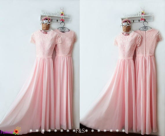 Pretty Pink Lace Top Chiffon Skirt Prom Dress Round Neck Etsy