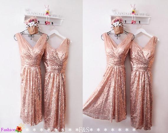 Short Sequin Dress Rose Gold Prom Dress Short Sparkly Sequin Homecoming Dress Sequin Bridesmaid Dress Party Dress Short Sequin Prom Dress