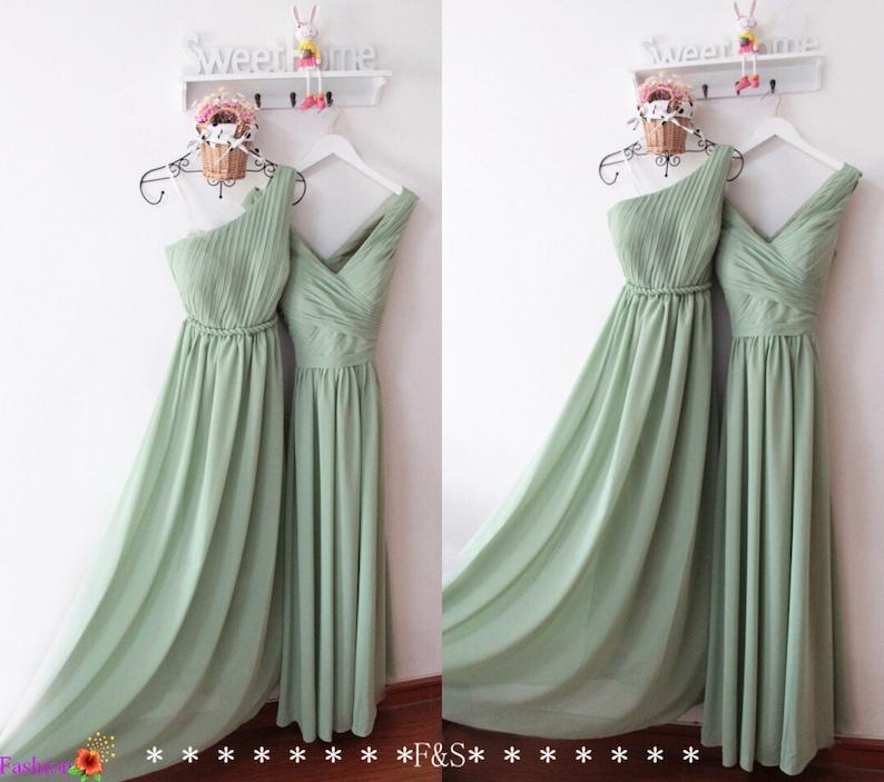 Sage Bridesmaid DressesOne Shoulder Sage DressLong Sage image 0